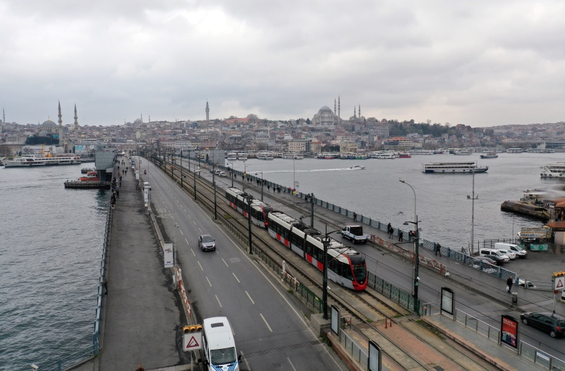 An aerial view shows an usually busy Galata bridge during the outbreak of coronavirus disease (COVID-19), in Istanbul